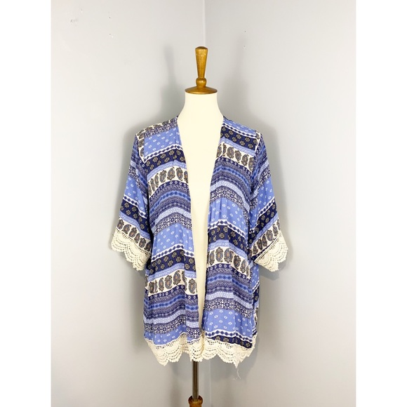 Front of Closet Tops - NWT Paisley Blue Open Front Kimono Top